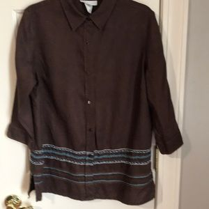 Tops - Zariah 100%linen dark brown beaded blouse